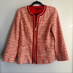 Lafayette 148 Tweed Zip Up Blazer/Jacket Size 8